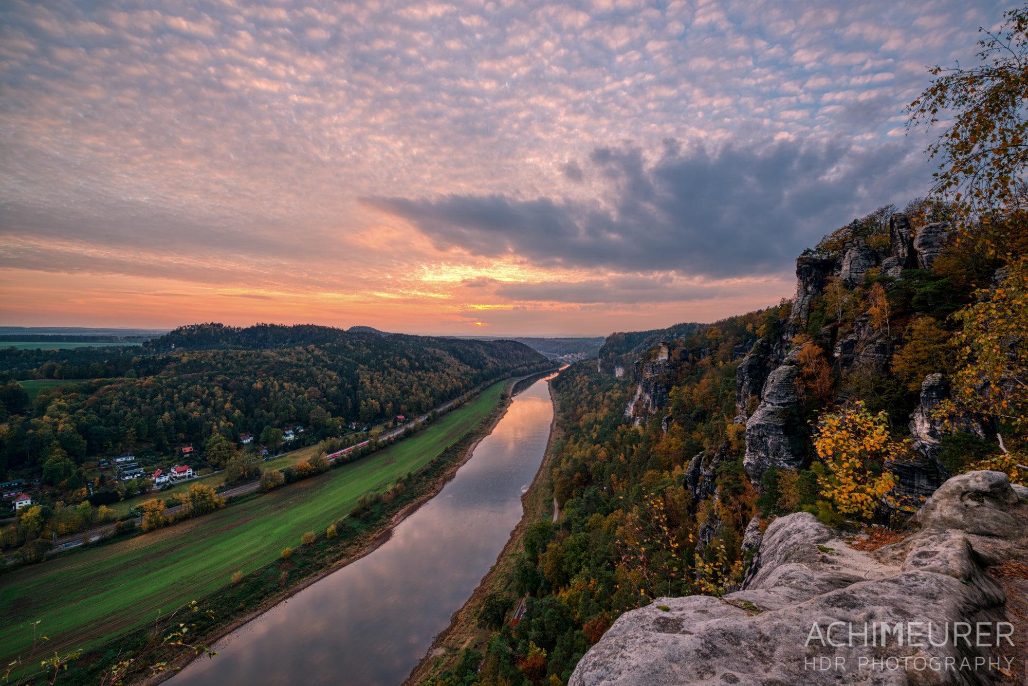 Sonnenuntergang von der Bastei aus - FotoCamp Herbstlicht 2018 - Sächsische Schweiz
